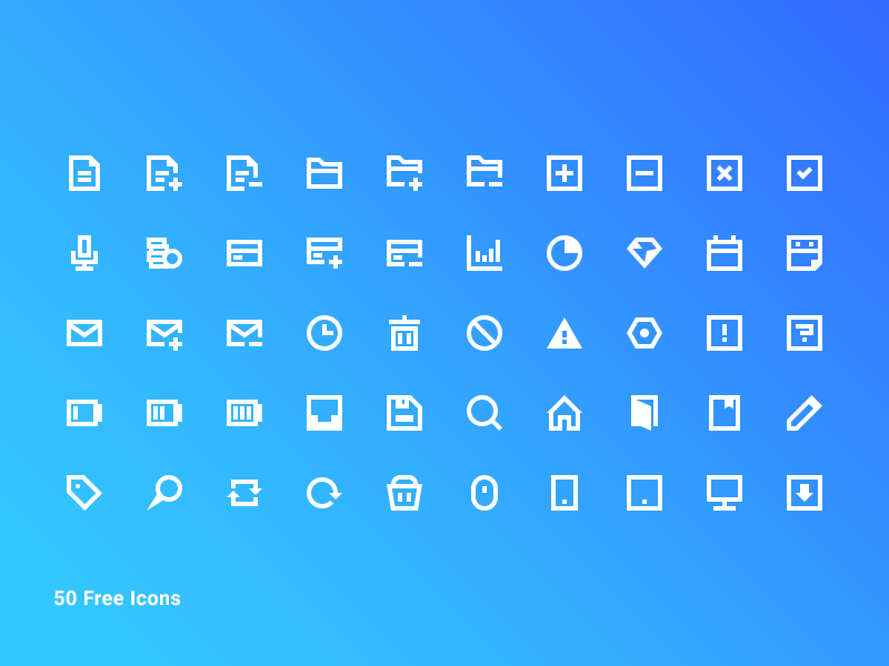 50 Free Blocky Icon Pack