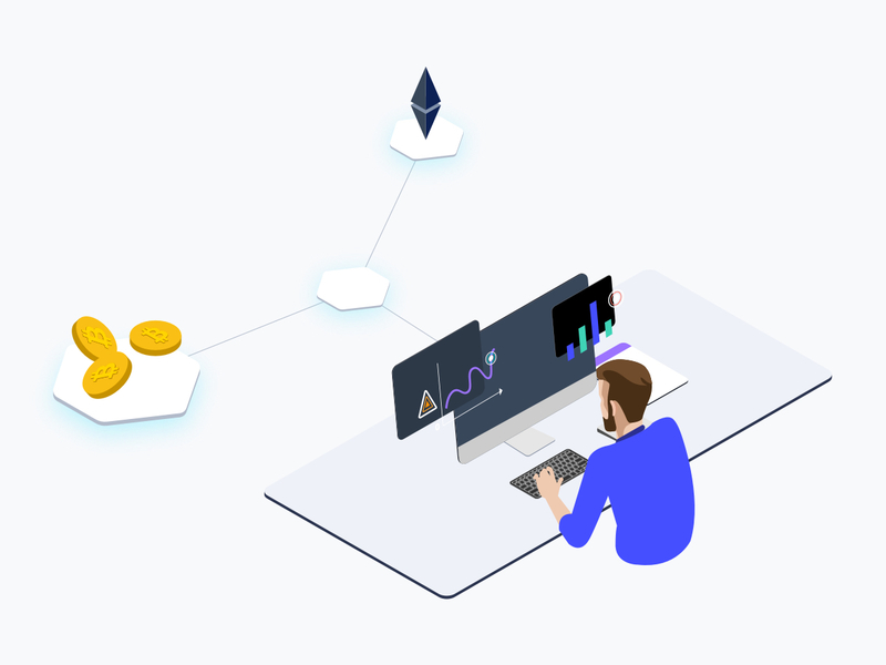 Trade Cryptocurrency Isometric Graphic