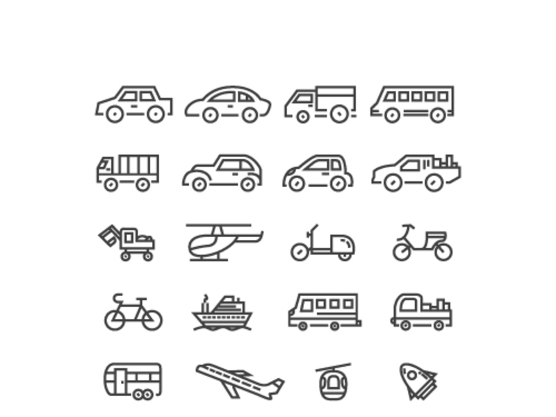Vehicle and transportation icons preview picture