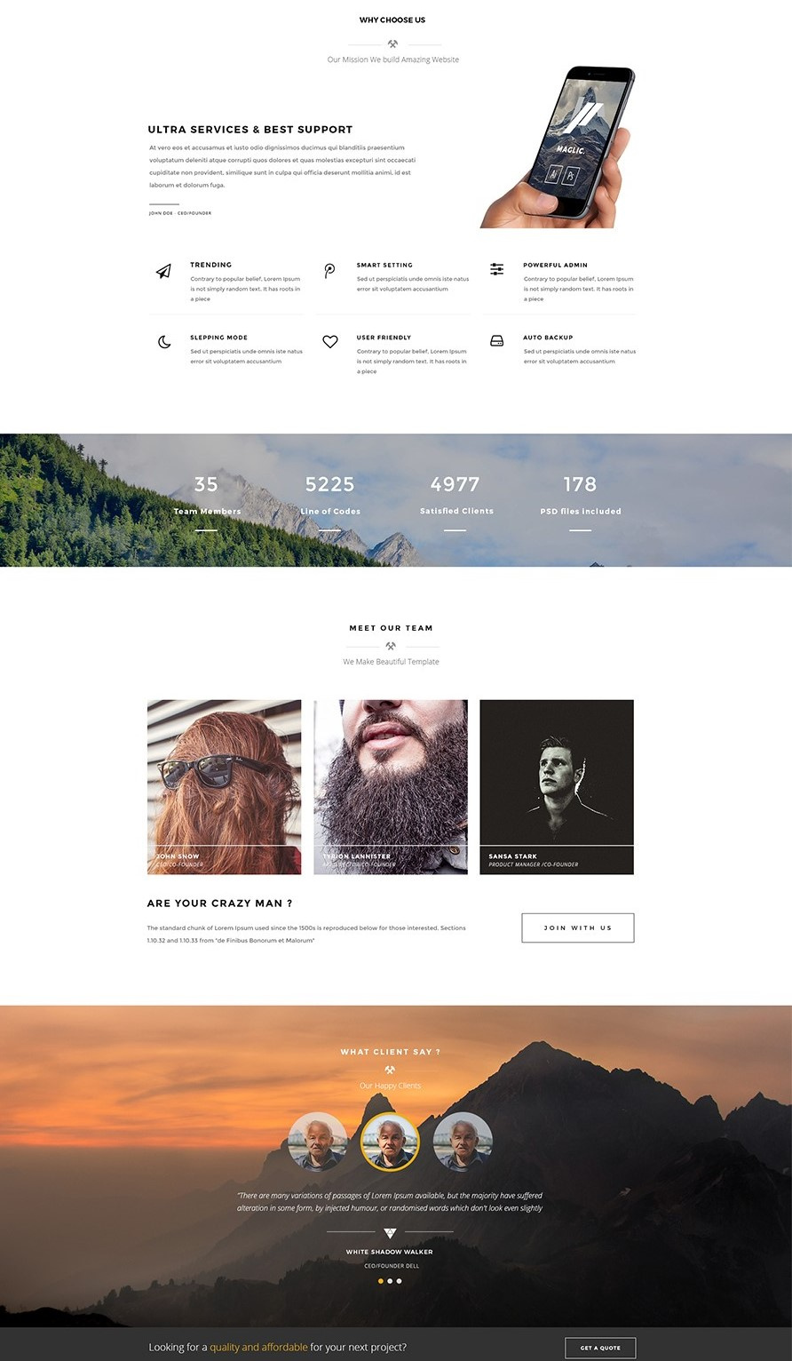 Maglic – One Page PSD Template