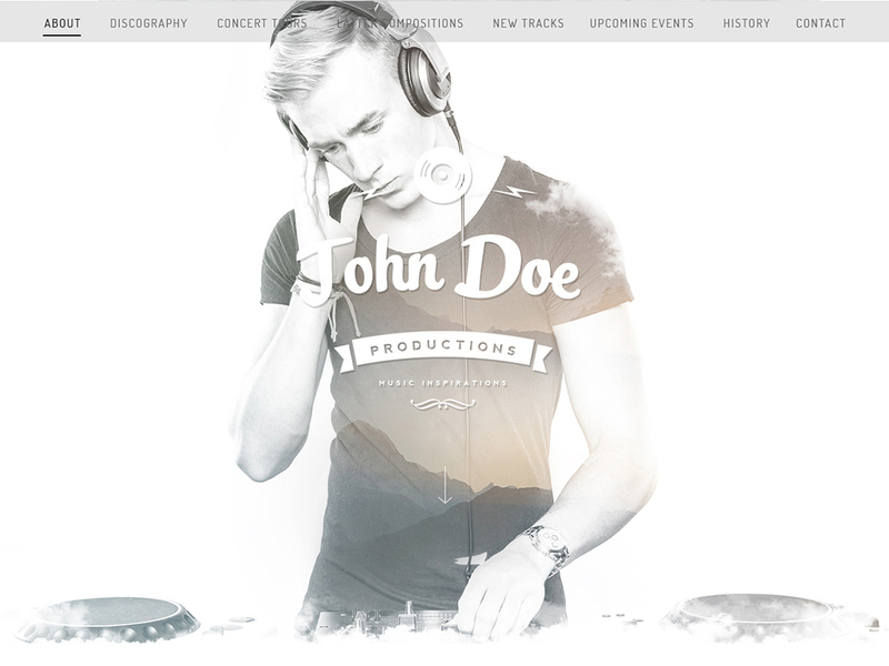 Free PSD template for a musician preview picture