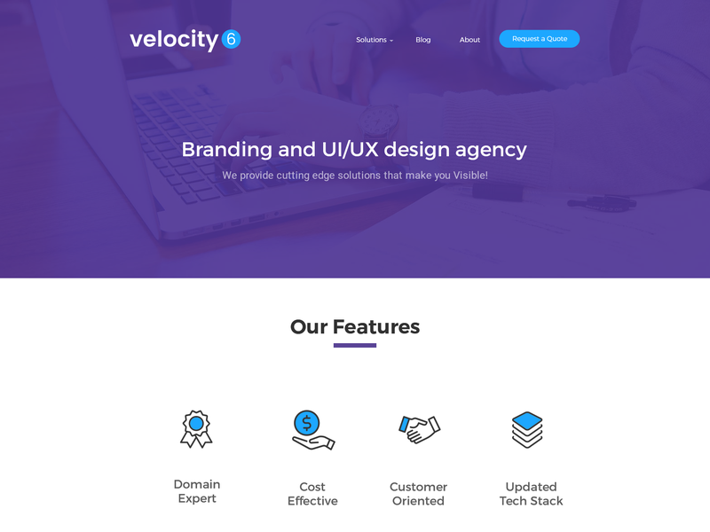 Velocity 6 - Landing Page Free PSD