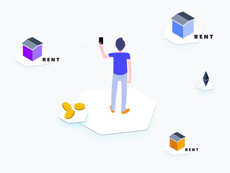 Apartment Rent Blockchain Platform Isometric Graphic