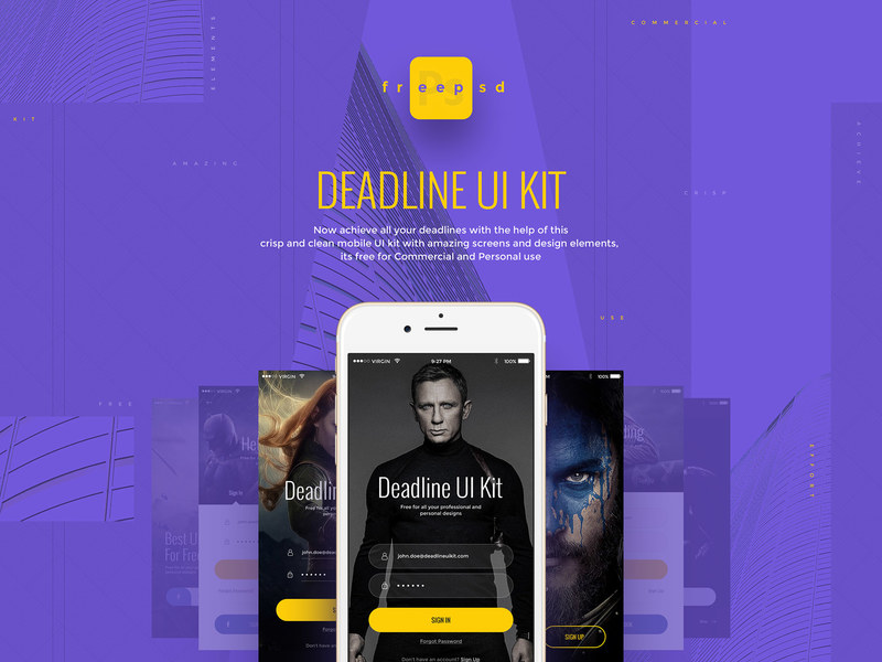 Deadline: Free UI kit for Photoshop preview picture