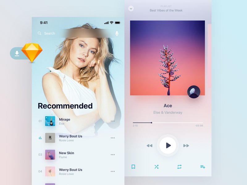 Holo Music UI Kit Light Freebie preview picture