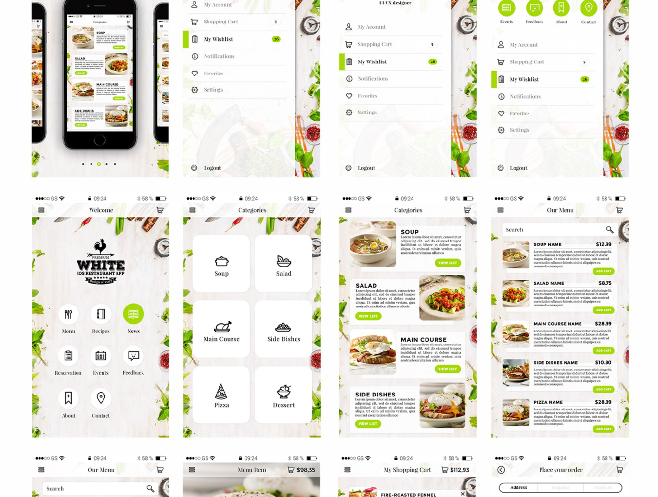 Premium White IOS Restaurant App ui kit