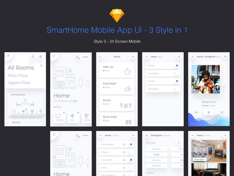 Smart Home Mobile App - 3 Styles in 1 file.