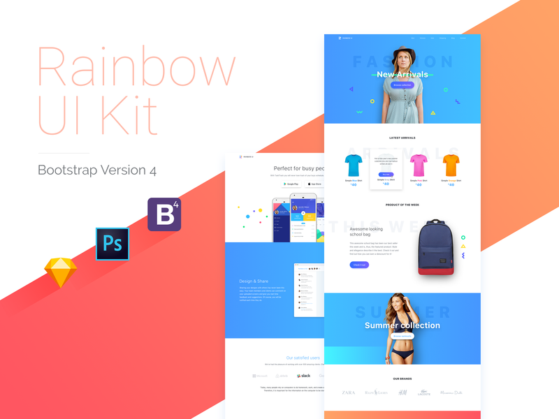 Epic Rainbow UI Kit with Bootstrap 4 Theme