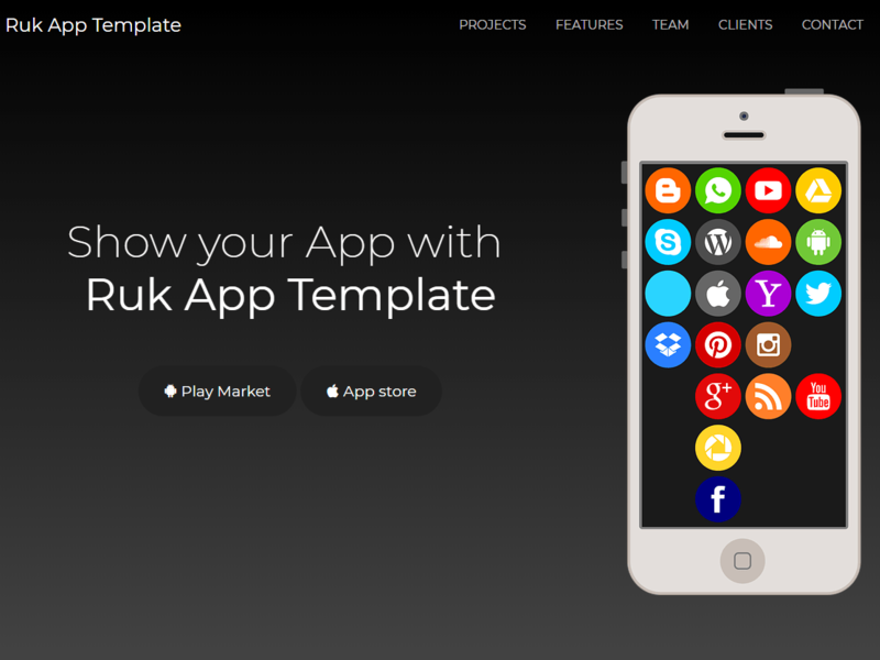 Ruk App Landing Template preview picture