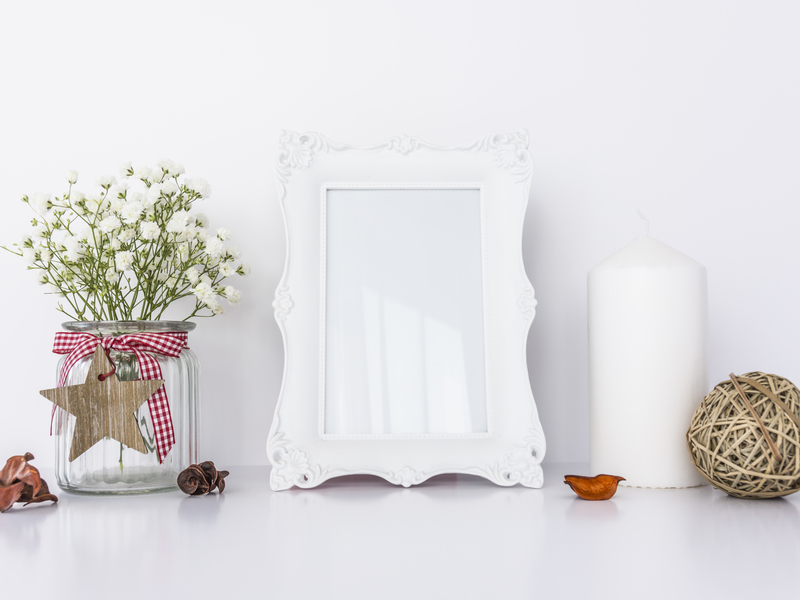 White Frame Mockup with Candle