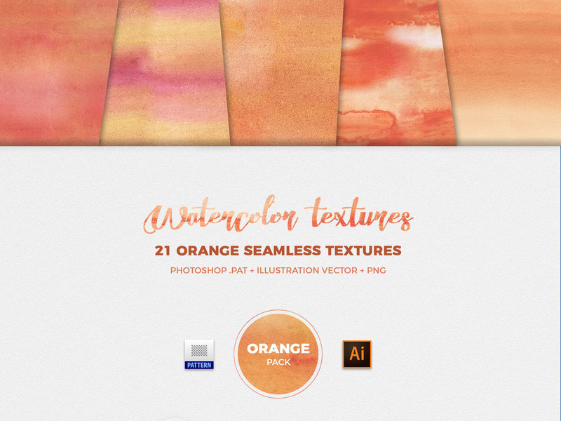 Watercolor Seamless Textures - Orange Pack