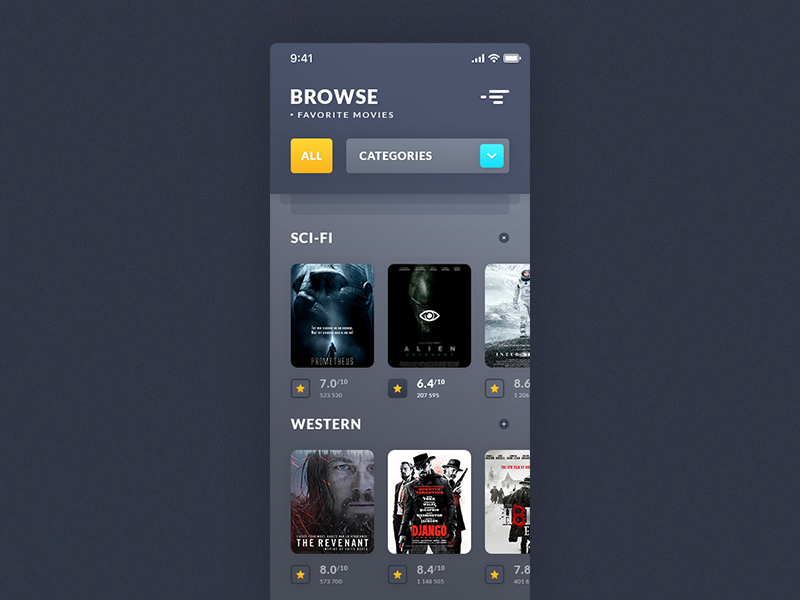 Browse Movies. iOS App preview picture