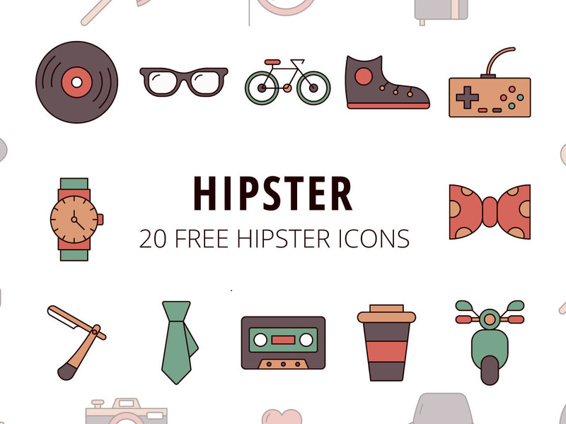 Hipster Vector Freebie Icon Set preview picture