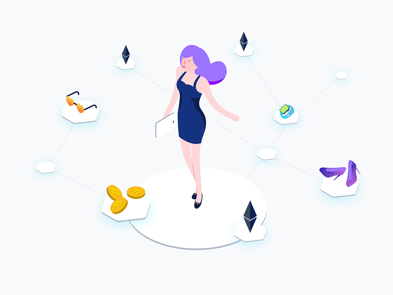 Isometric Graphic Blockchain Ecommerce