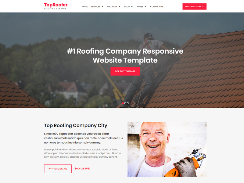 Roofing Company Website Template preview picture