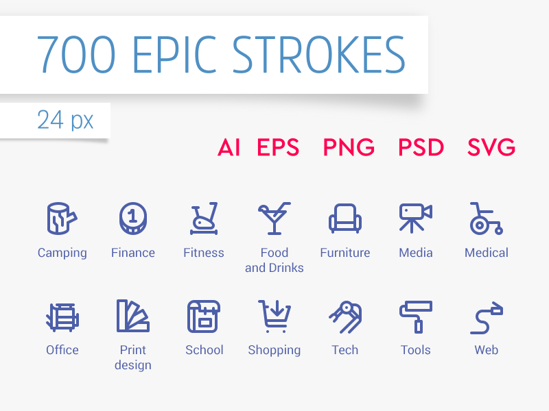 700 Epic Stroke Icons preview picture