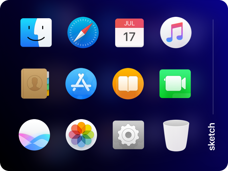 Mac OS dock icons vectorized preview picture