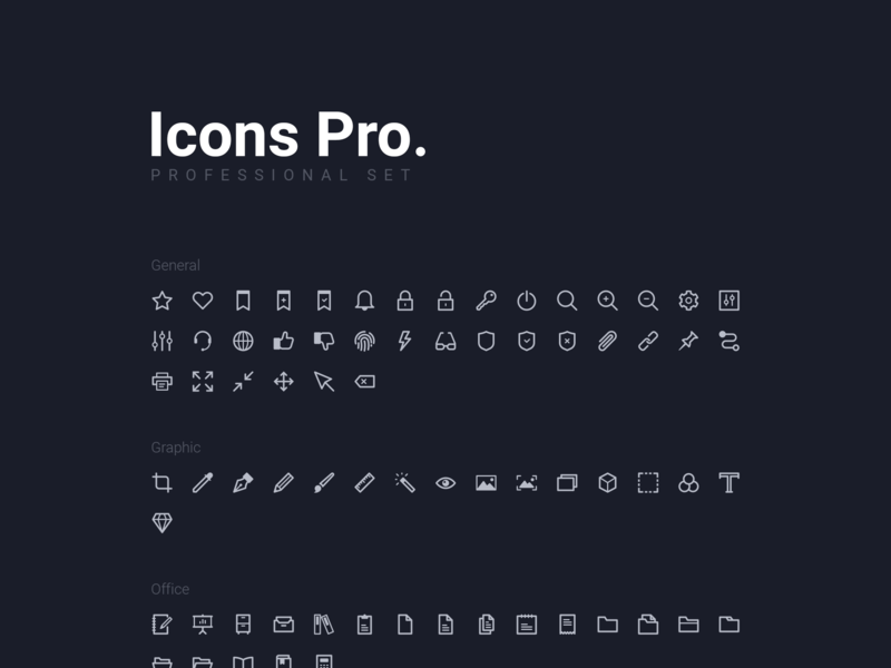 Icons Pro. 250+ Vector line icons