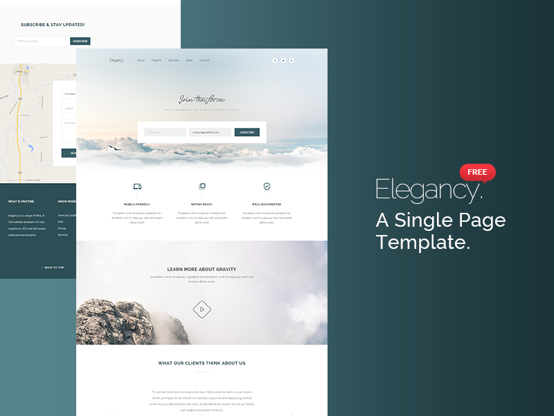 Elegancy: Single Page Template [PSD] preview picture