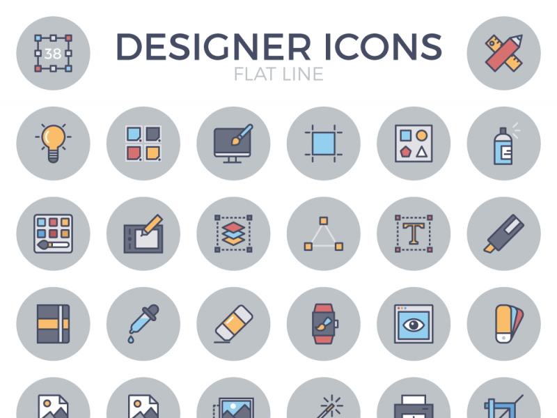 Designer Flat Line Icon Set preview picture
