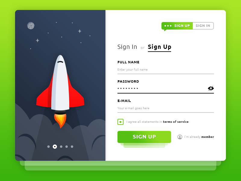 Sign Up. Rocket Form preview picture