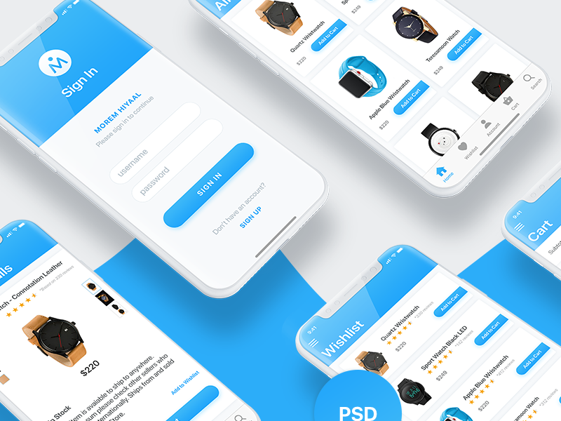 Morem Hiyaal | Ecommerce iOS UI Design | iPhone X | Free PSD preview picture