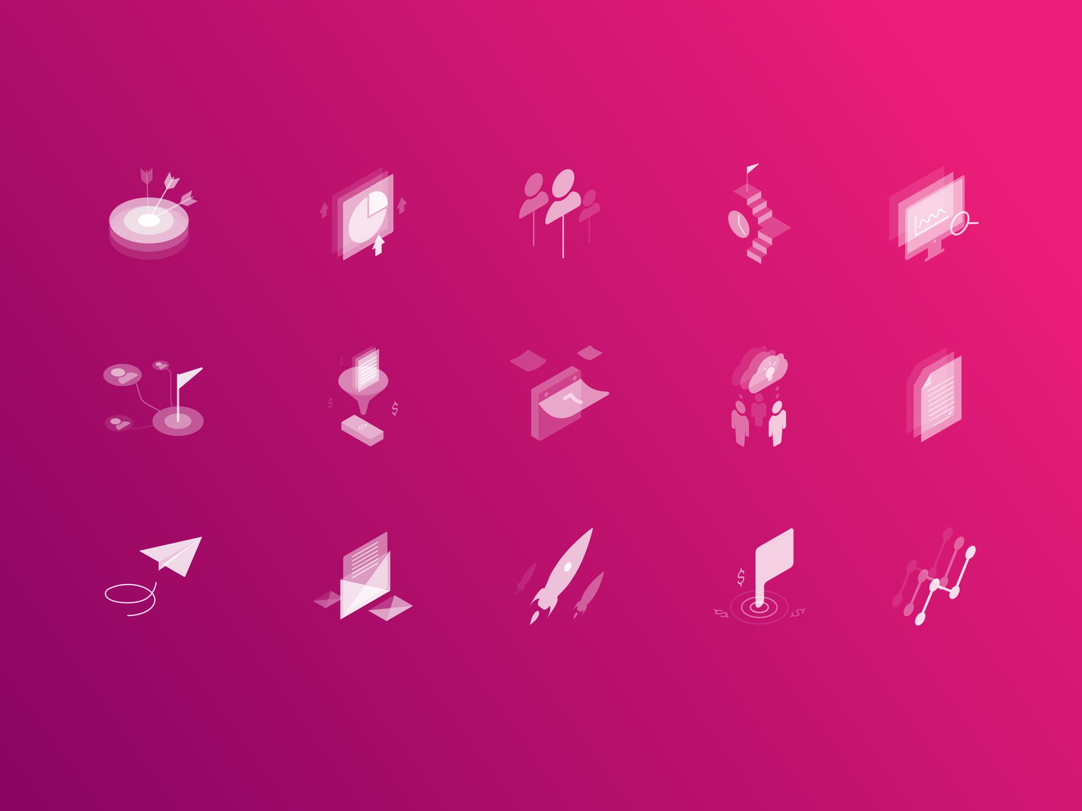 Marketing Isometric Transparent Icons