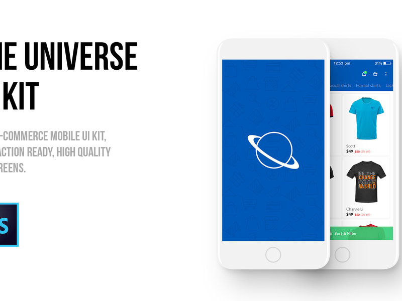 The Universe E-commerce Mobile UI kit preview picture