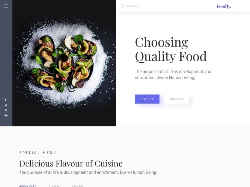 Foodly Free Landing page