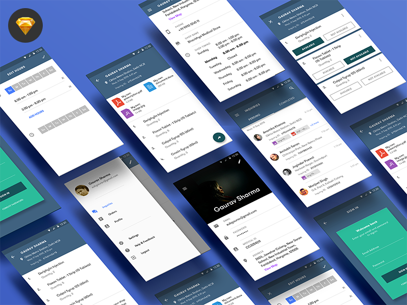 Medicine - Mobile App UI kit [Sketch] preview picture
