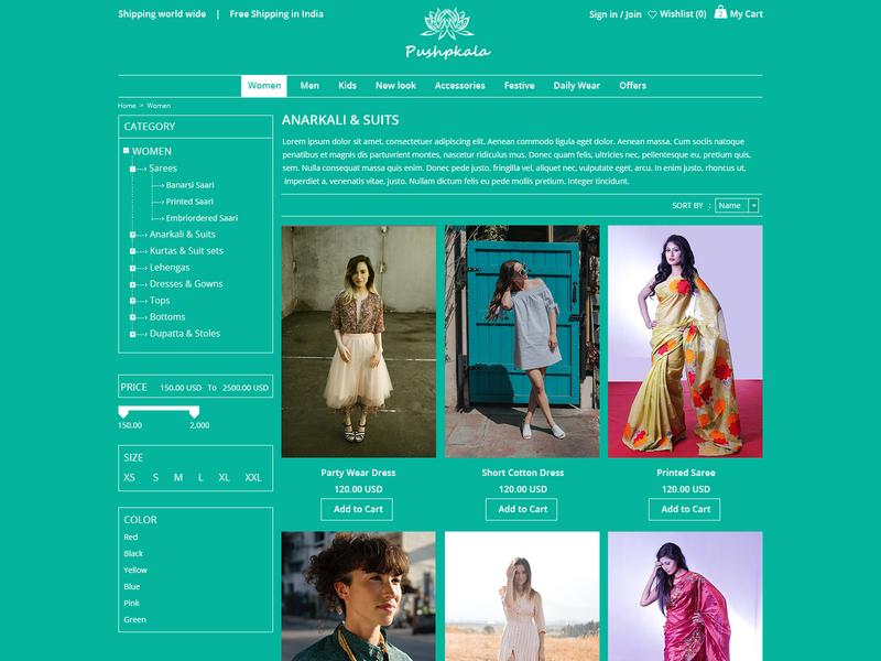 Pushpkala - Responsive Ecommerce website PSD template