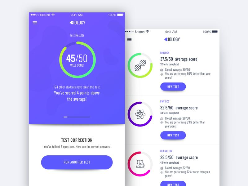 Biology Test App Design iOS