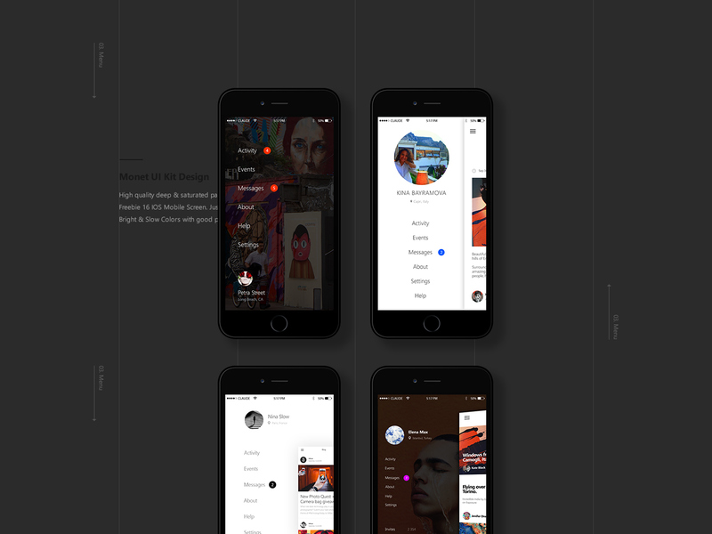 Monet: Free PSD Mobile UI kit