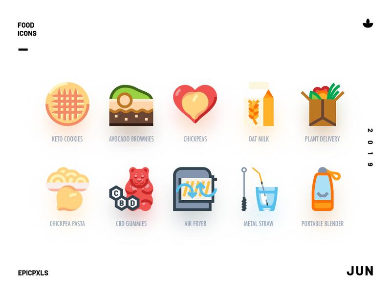 Organic Groceries Icon Set