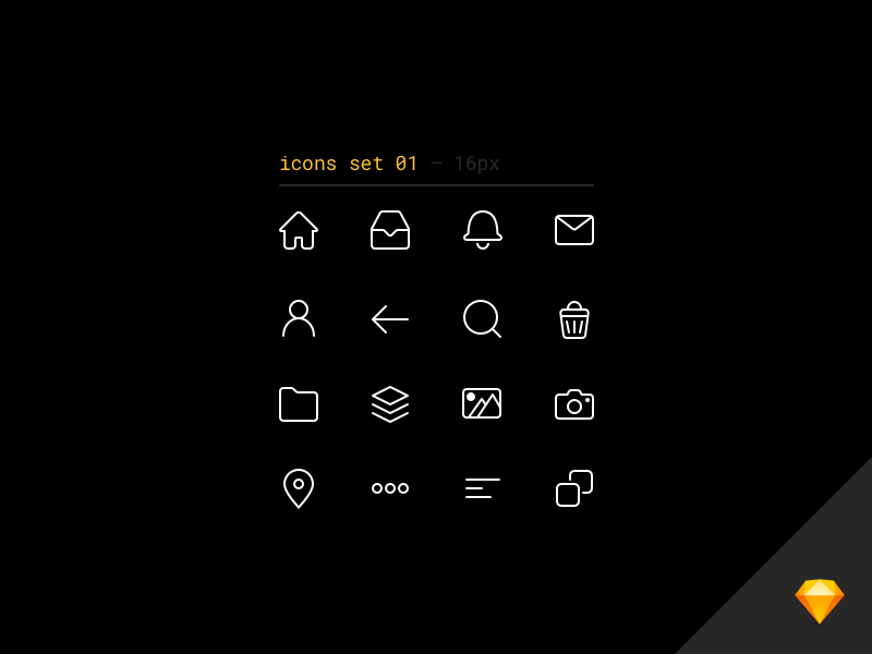 Line icons set for Sketch vol.1