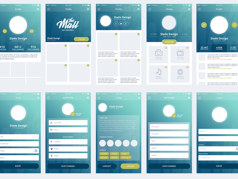 """The Mall"" mobile UI kit preview picture"
