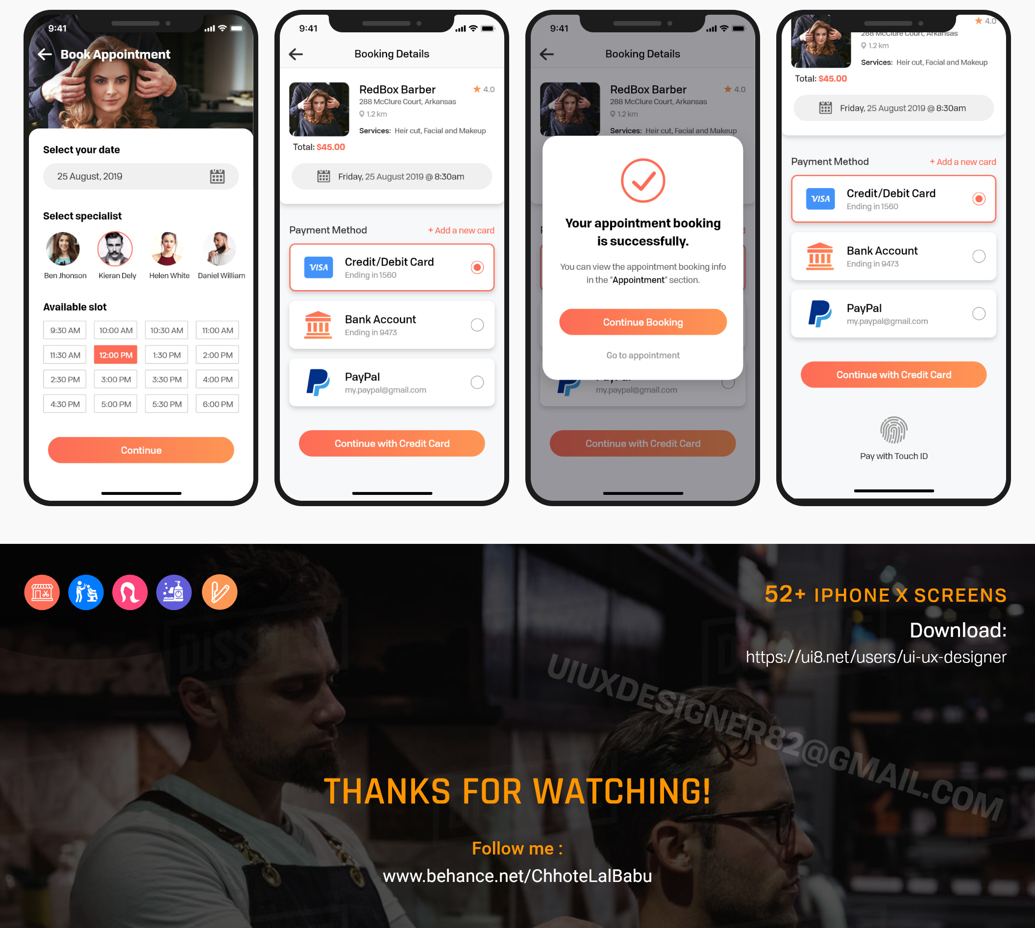 Barber Salon UI Kit