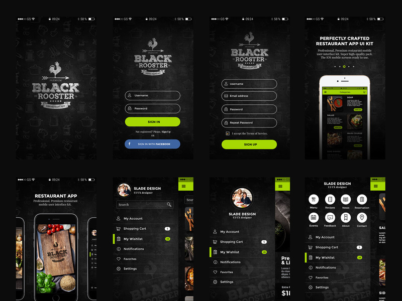 Black Rooster restaurant App ui kit