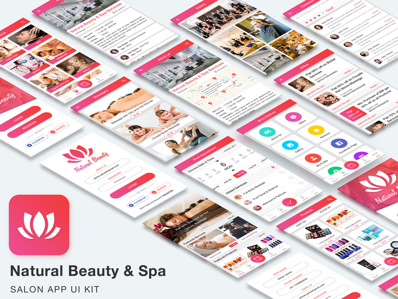 Natural Beauty and Spa Salon App UI Kit preview picture