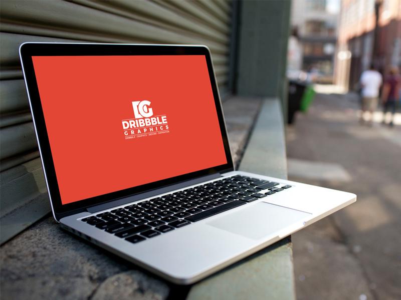Laptop MockUp on City Street