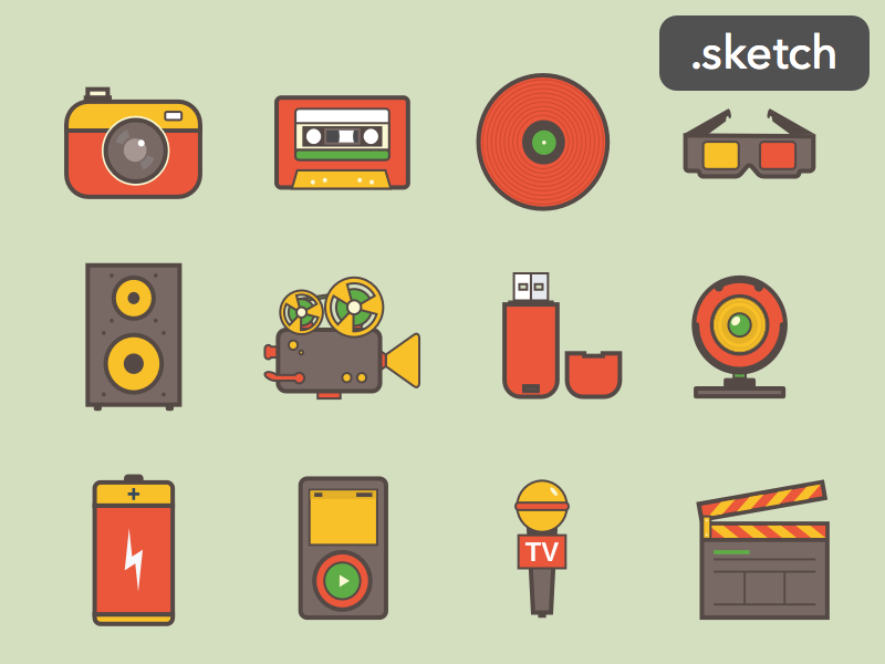 Media icons [Sketch] preview picture