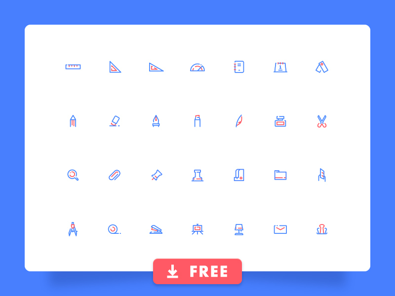 Stationery icon set preview picture