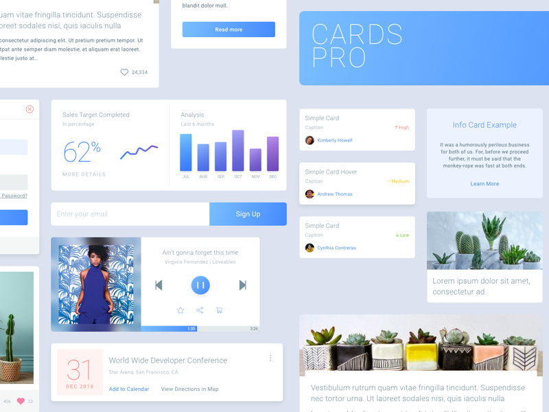 Cards Pro - Free UI Kit preview picture