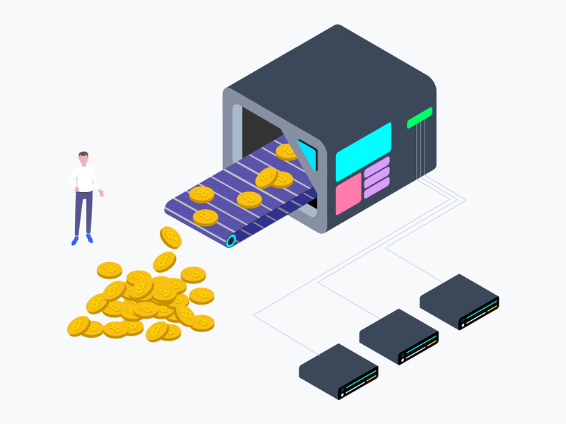 Cryptocurrency Mining Factory Isometric Graphic