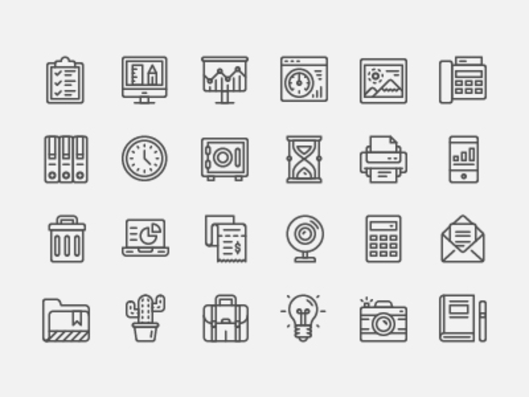 Office Icon Set [AI, SVG, PNG]