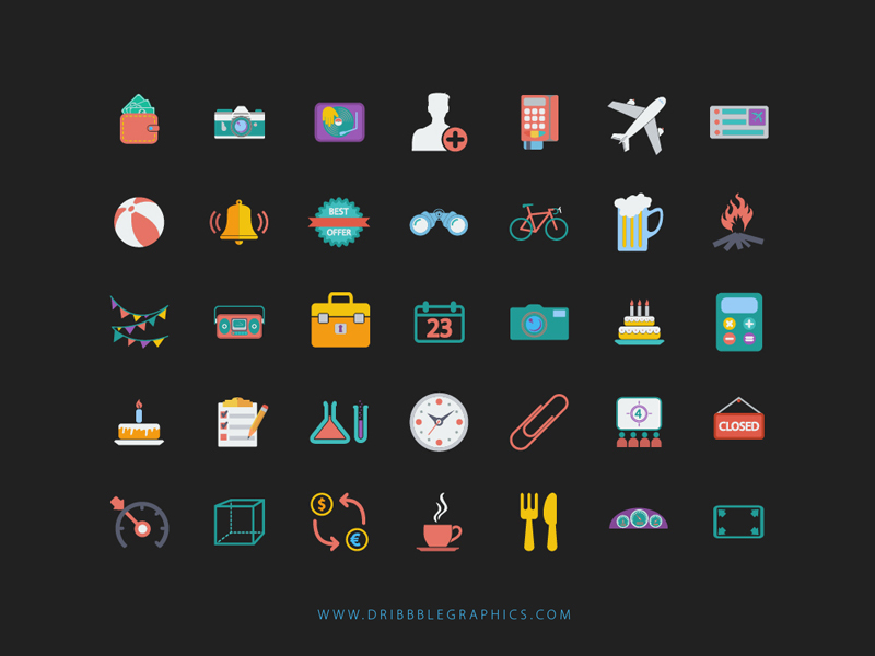 Colorful Web Design Icons
