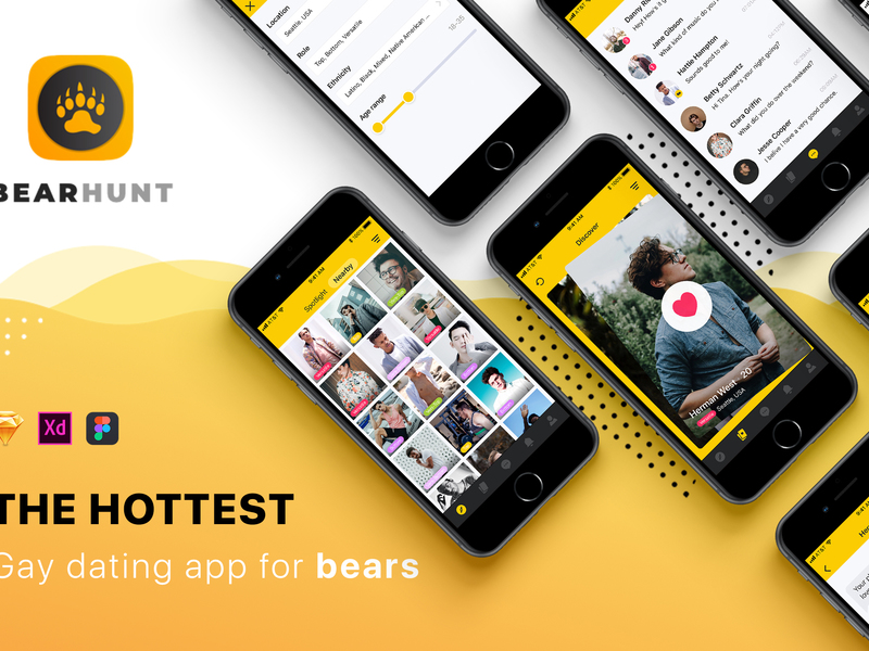 BearHunt Dating Mobile UI Kit preview picture