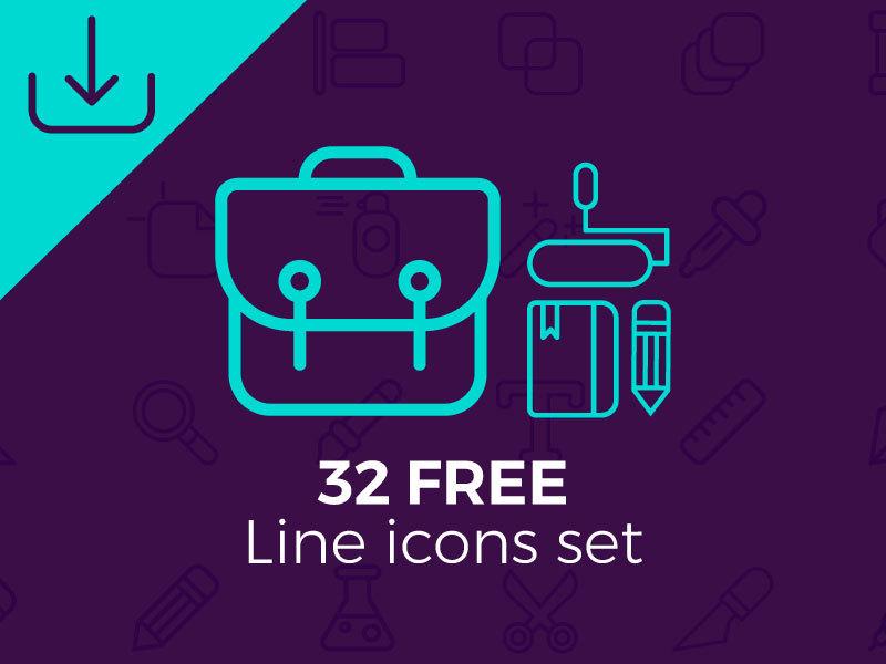 32 free line icons set