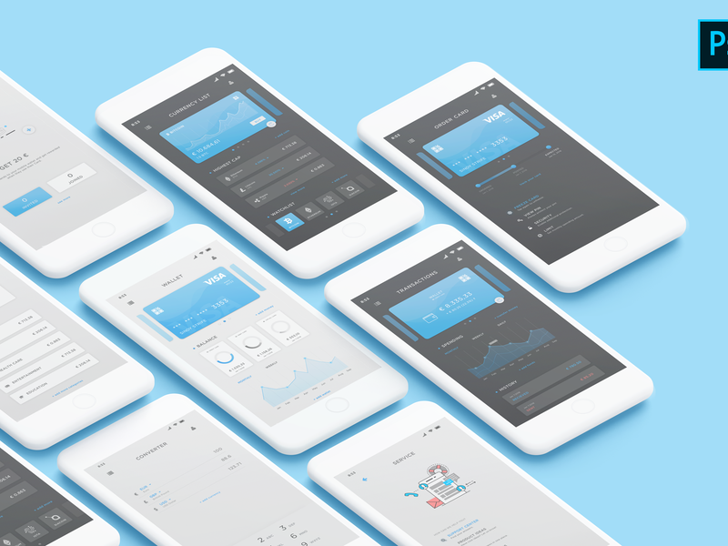 Mobile wallet UI kit preview picture