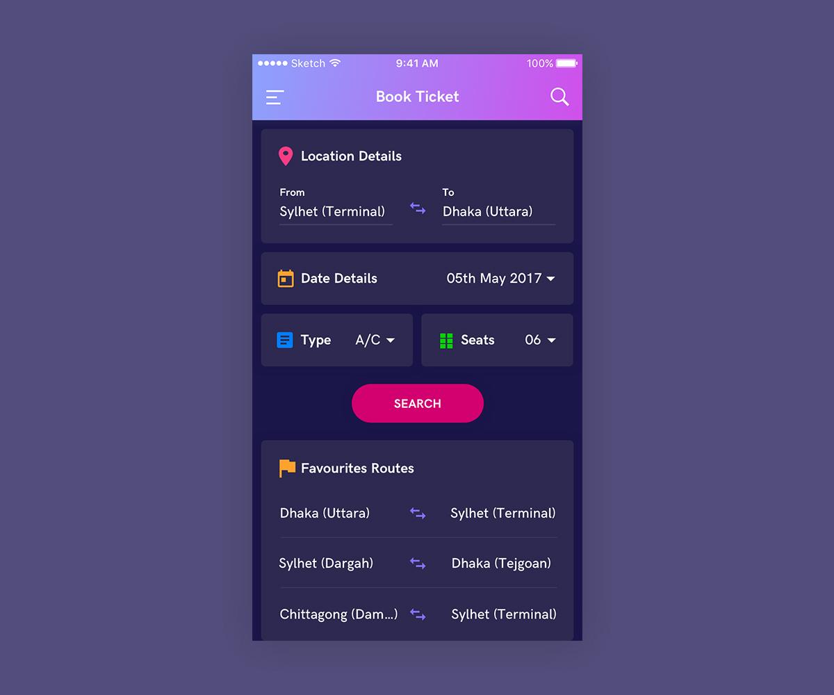Bus Ticket Booking App UI